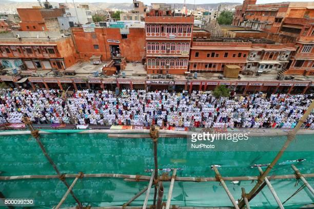 Indian Muslims offer prayer 'Namaz' during JumatulVida or the last Friday of the holy fasting month of Ramadanat Johari Bazar in Jaipur Rajasthan...