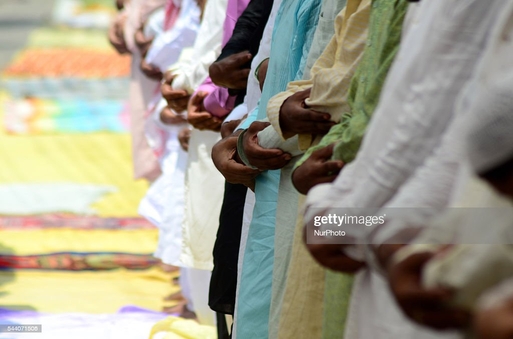 Indian muslims offer prayers , on the last friday of holy month of Ramadan, in Allahabad on July 1,2016.Muslims throughout the world are marking the month of Ramadan, the holiest month of Islamic calander,by fasting from dawn till dusk.