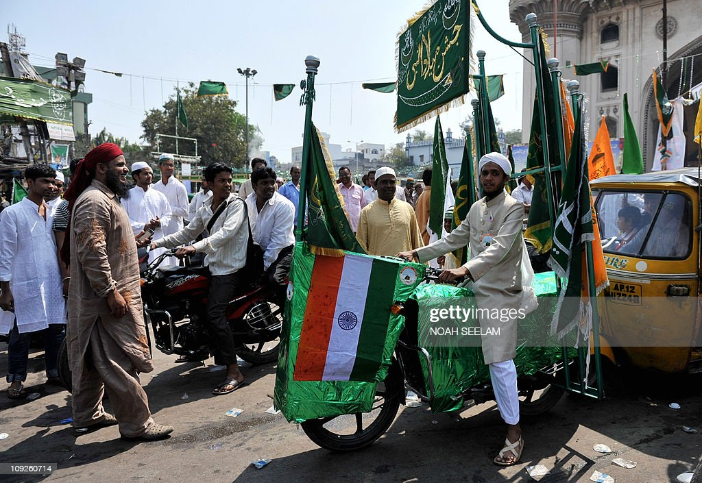 Indian Muslims participate in a procession to mark the Islamic festival of Eid Milad-un-Nabi in Hyderabad on February 16, 2011. Eid Milad-un Nabi or Maulid (Mawlid), is the Islamic festival which marks the birth anniversary of the Prophet Mohammed, who was born in the Saudi Arabian city of Mecca on the 12th day of Rabi-ul-Awwal 571 A.D. AFP PHOTO / Noah SEELAM