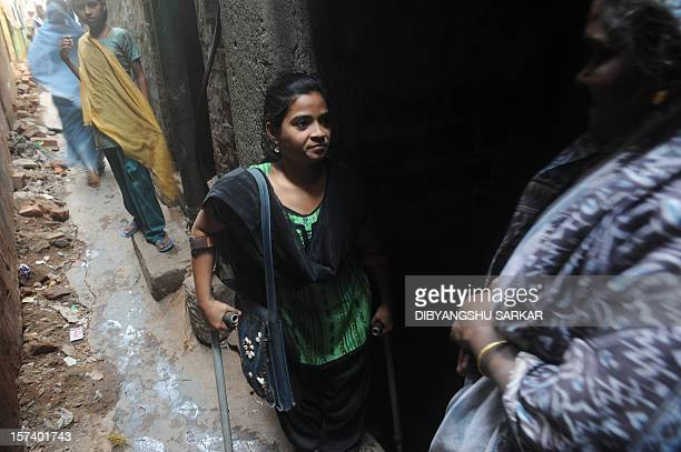 Indian Nahid Parveen a 23 year old polio patient meets people as a part of her job in an NGO working to empower economically disadvantage women in...