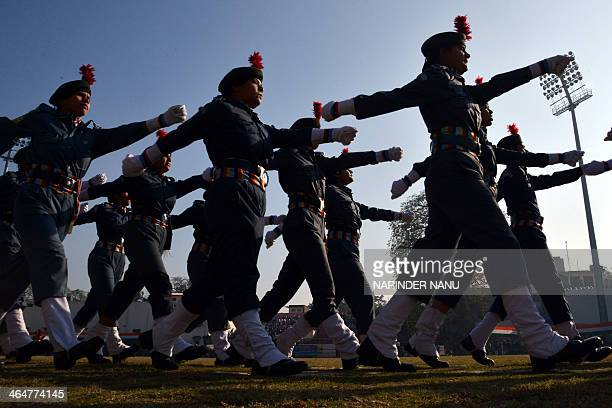 Indian National Cadet Corps youth participate in a rehearsal for the upcoming 65th Republic Day parade in Amritsar on January 24 2014 India will...