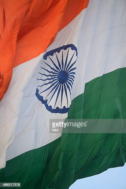 Indian national flag at Central Park Connaught Place on August 8 2014 in New Delhi India