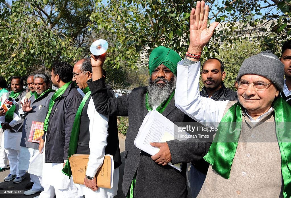 Indian National Lok Dal legislators raising slogans while they were forced to vacate the assembly premises citing prohibitory orders in force on...