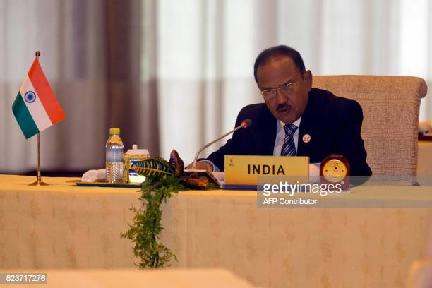 Indian National Security Advisor Ajit Doval attends the seventh meeting of BRICS senior representatives on security issues held at the Diaoyutai...