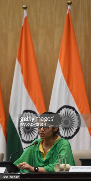 Indian national Uzma Ahmed addresses a press conference after her return from Pakistan at the Foreign Ministry in New Delhi on May 25 2017 An Indian...