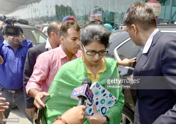 Indian National Uzma Ahmed at Sri Guru Ram Dass Jee International Airport before leaving for Delhi after her return from Pakistan via Attari Border...
