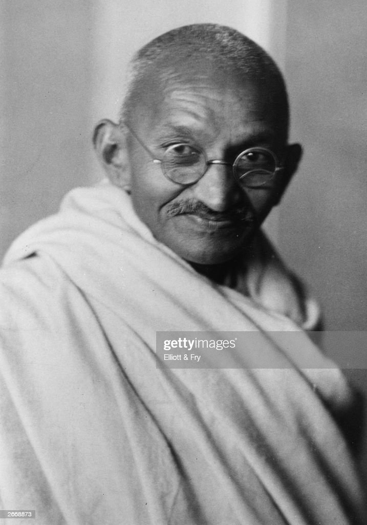 Indian nationalist leader Mohandas Karamchand Gandhi (1869 - 1948), popularly known as Mahatma Gandhi, whose policy of peaceful demonstration led India from British rule to independence.