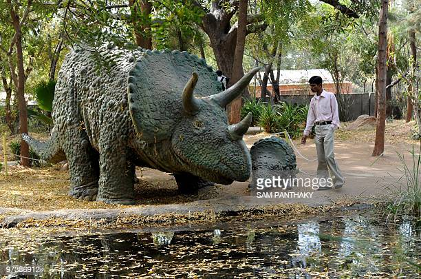 Indian Nature Educator Natwarsinh Rathod stands next to Triceratops models by a pond at the Indroda Dinosaur and Fossil Park in Gandhinagar some 30...