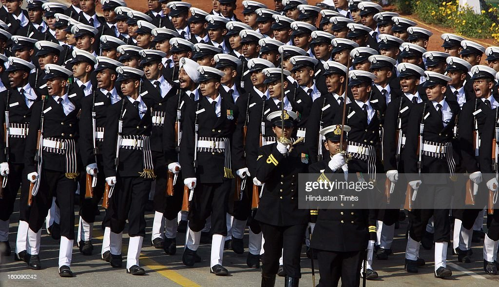 Indian Naval Soldier marching contingent during the 64th Republic Day parade celebration at Raj path on January 26, 2013 in New Delhi, India. India marked its Republic Day with celebrations held under heavy security, especially in New Delhi where large areas were sealed off for an annual parade of military hardware.
