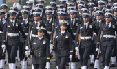 Indian Navy Contingent passing through the saluting base during the full dress rehearsal for Republic Day Parade at Rajpath on January 23 2014 in New...