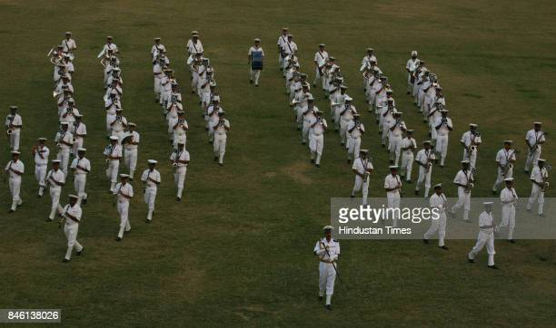 Indian Navy Rehearsal of the Indian Navy organised the traditional naval ceremony of Beating the Retreat at Kohli stadium Navy Nagar