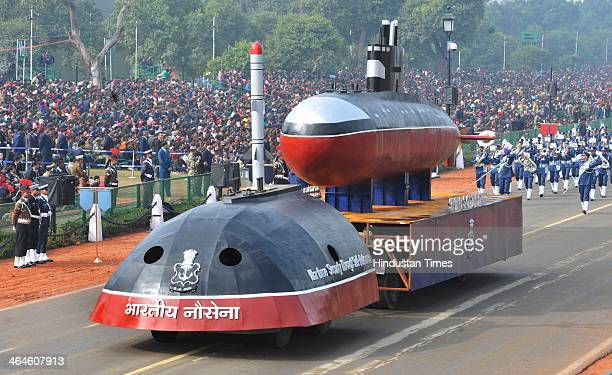Indian Navy tableau passing through the saluting base during the full dress rehearsal for Republic Day Parade at Rajpath on January 23 2014 in New...