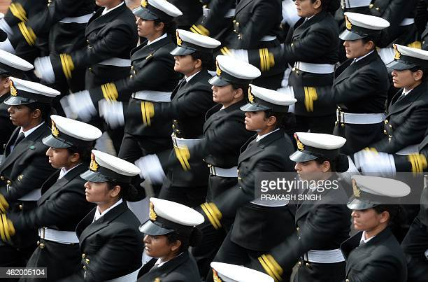 Indian Navy women contingent march in formation down Rajpath during the full Republic Day Dress rehearsal in New Delhi on January 23 2015 India...
