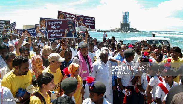 Indian Nobel Peace Laureate Kailash Satyarthi walks during the 'Bharat Yatra' a nationwide march against child sexual abuse and trafficking in...