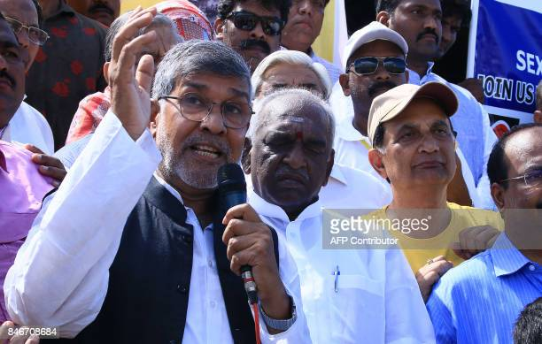 Indian Nobel Peace Prize winner Kailash Satyarthi speaks during 'Bharat Yatra' a nationwide march against child sexual abuse and trafficking in the...