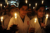 Indian nursing students hold a candlelight vigil on the occasion of World AIDS Day in Amritsar on December 12010 The UNAIDS agency says some 25...