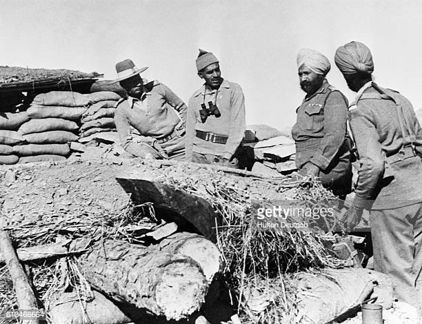 Indian officers occupying a fort on the Ladakh border during the war between India and China 1962