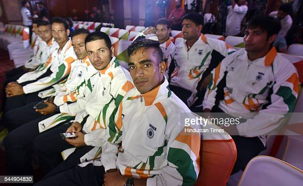 Indian Olympic Athletes Thonakal Gopi and Baljinder Singh along with Wrestlers Ravinder Khatri Hardeep Singh and Narsingh Yadav during an event...