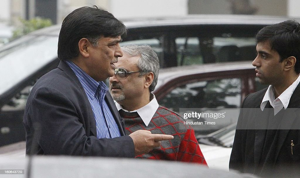 Indian Olympic Committee Secretary General Lalit Bhanot outside CBI court at Patiala House on February 4, 2013 in New Delhi, India. The CBI court court today framed charges for alleged corruption in Common wealth Case under various provisions of the IPC and the Prevention of Corruption (PC) Act against him, Suresh Kalmadi and other accused.