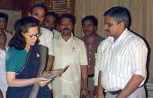 Indian opposition leader Sonia Gandhi files her candidacy papers at the Bellary deputy election commissioners office 18 August 1999 ahead of the...