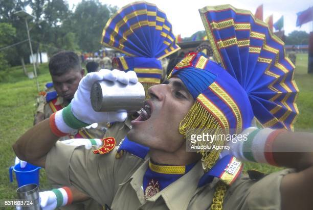 Indian paramilitary soldiers are seen after marching during the Independence Day celebrations in Agartala India on August 15 2017