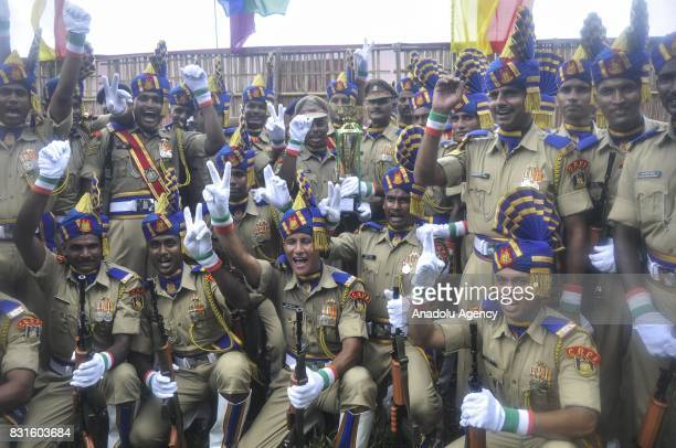 Indian paramilitary soldiers are seen after the march during the Independence Day celebrations in Agartala India on August 15 2017