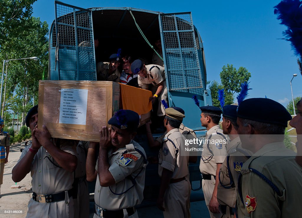 Indian Paramilitary soldiers of Central Reserve Police Force (CRPF) carry the coffins containing bodies of their killed comrades during a wreath-laying ceremony of eight CRPF soldiers killed in an ambush on June 26, 2016 in Srinagar, the summer capital of Indian Administered Kashmir, Indian. The CRPF held a wreath-laying ceremony for eight troopers who were killed yesterday in an ambush by rebels on the Srinagar-Jammu highway in Pampore area of Pulwama district. Two militants were also killed in retaliatory action by the troopers, police said.