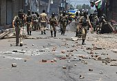 Indian paramilitary troopers patrol after clashes in Srinagar on July 23 2016 Large parts of Indianadministered Kashmir have been under continuous...