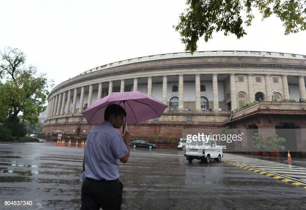 Indian Parliament ahead of the historic GST special session on June 30 2017 in New Delhi India With a gong sound at midnight in Parliament's Central...
