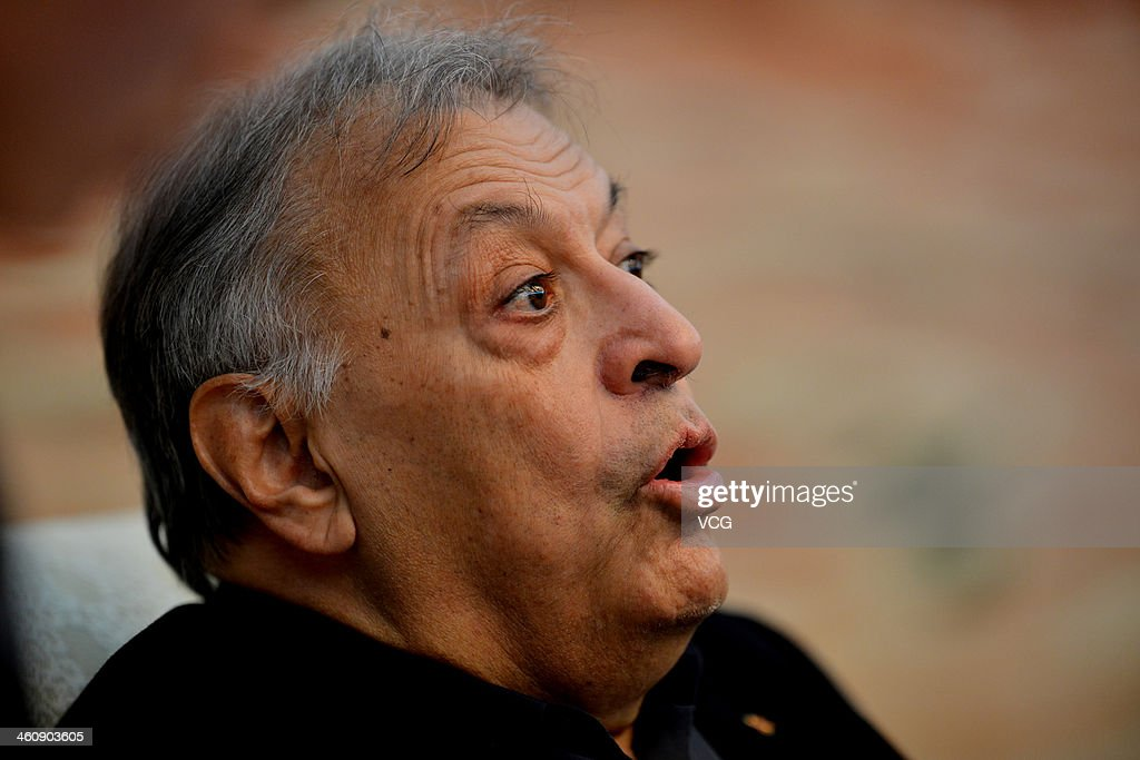 Indian Parsi conductor <a gi-track='captionPersonalityLinkClicked' href=/galleries/search?phrase=Zubin+Mehta&family=editorial&specificpeople=548623 ng-click='$event.stopPropagation()'>Zubin Mehta</a> attends a press conference prior to the New Year's concert at Qintai Concert Hall on January 5, 2014 in Wuhan, China.