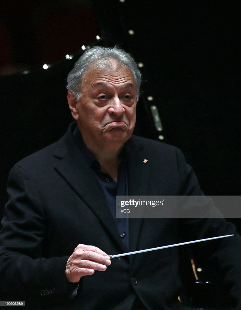 Indian Parsi conductor <a gi-track='captionPersonalityLinkClicked' href=/galleries/search?phrase=Zubin+Mehta&family=editorial&specificpeople=548623 ng-click='$event.stopPropagation()'>Zubin Mehta</a> conducts the Orquestra de la Comunitat Valenciana orchestra during a rehearsal of the New Year's concert at Qintai Concert Hall on January 5, 2014 in Wuhan, China.