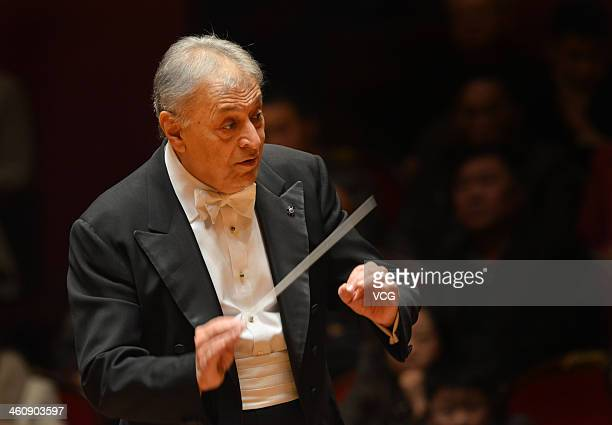 Indian Parsi conductor Zubin Mehta performs with the Orquestra de la Comunitat Valenciana orchestra during the New Year's concert at Qintai Concert...