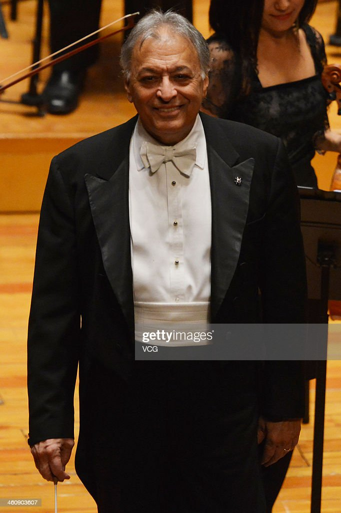 Indian Parsi conductor Zubin Mehta performs with the Orquestra de la Comunitat Valenciana orchestra during the New Year's concert at Qintai Concert Hall on January 5, 2014 in Wuhan, China.