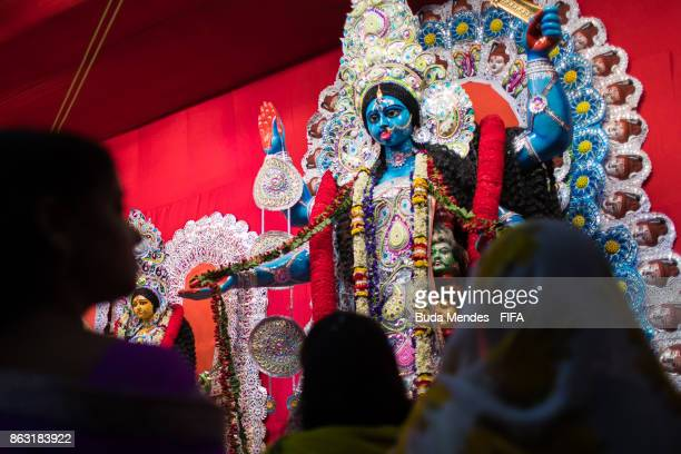 Indian people celebrate the Hindu festival of Diwali the annual festival of lights in India during of the FIFA U17 World Cup India 2017 tournament on...
