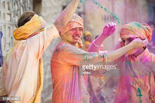Indian people celebrating holi