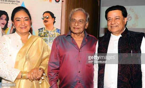 Indian playback singer Jaspinder Narula composer Anandji and Bhajan singer Anup Jalota attend the music launch of the upcoming Hindi film Mr Kabaadi...