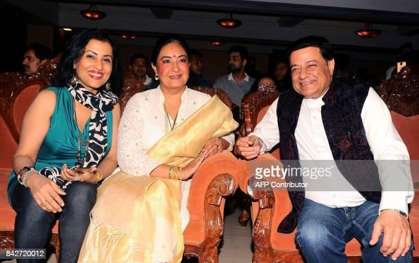 Indian playback singer Madhushree Jaspinder Narula and Bhajan singer Anup Jalota attend the music launch of the upcoming Hindi film Mr Kabaadi in...