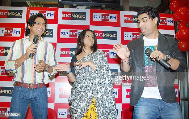 Indian playback singer Shaan and Bollywood actress Vidya Balan at an event held to launch the new jingle of 927 BIG FM