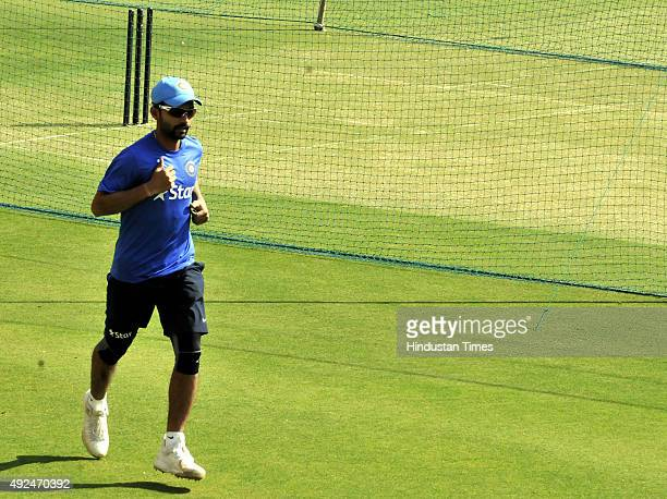 Indian player Ajinkya Rahane during the practice session at Holkar Stadium ahead of the 2nd ODI against South Africa on October 13 2015 in Indore...