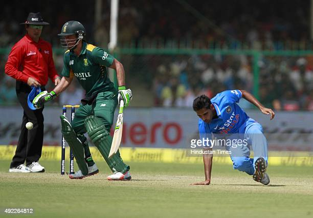 Indian player Bhuvneshwar Kumar during the first One Day International match between India vs South Africa at Green Park Stadium on October 11 2015...