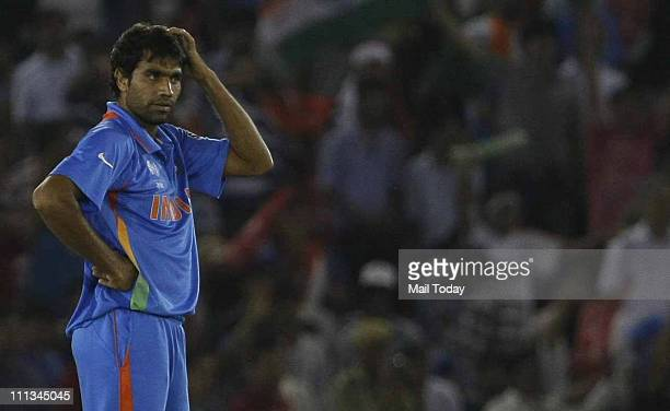 Indian player Munaf Patel during the ICC cricket world cup semifinal match between India and Pakistan at PCA stadium in Mohali