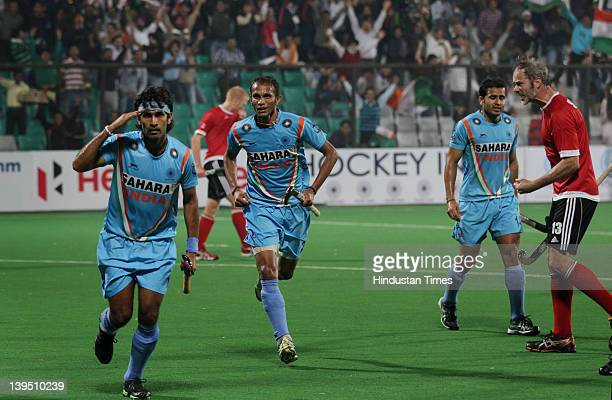 Indian player Shivendra Singh celebrates after scoring a goal against Canada during the men's field hockey match between India and Canada in FIH...