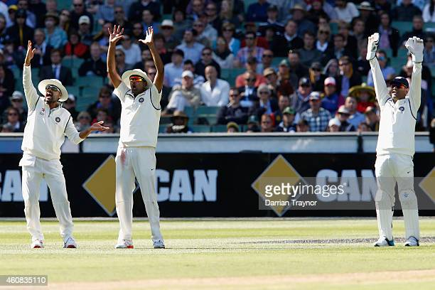 Indian players appeal for lbw during day one of the Third Test match between Australia and India at Melbourne Cricket Ground on December 26 2014 in...