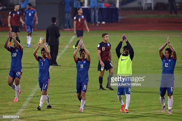 Indian players applaud supporters after India won 10 during the the Asia Group D FIFA World Cup 2018 qualifying football match between India and Guam...