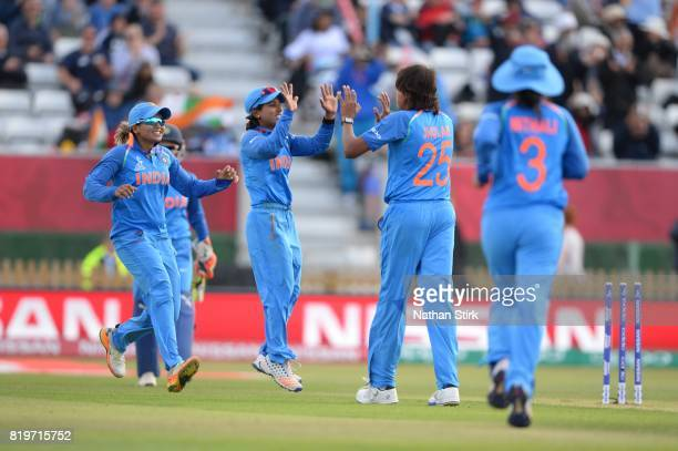 Indian players celebrate during the SemiFinal ICC Women's World Cup 2017 match between Australia and India at The 3aaa County Ground on July 20 2017...