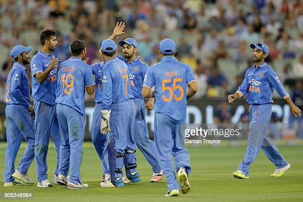 Indian players celebrate the run out of Mitchell Marsh of Australia during game three of the One Day International Series between Australia and India...