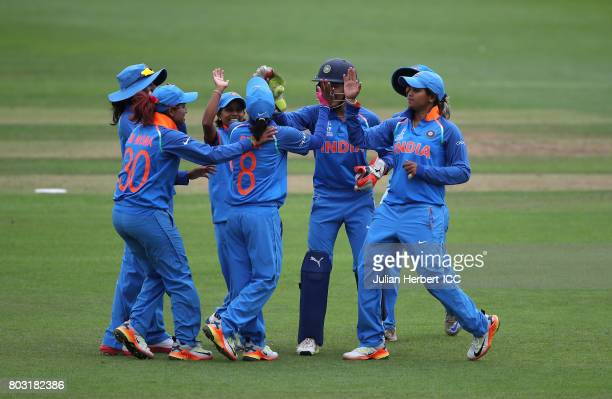 Indian players celebrate the wicket of Felicia Walters of The West Indies during The ICC Women's World Cup 2017 match betwen The West Indies and...