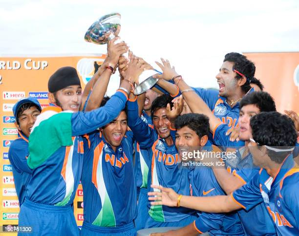 Indian players celebrate winning the 2012 ICC U19 Cricket World Cup Final between Australia and India at Tony Ireland Stadium on August 26 2012 in...