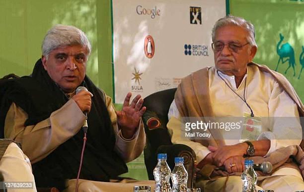 Indian Poet lyricist and scriptwriter Javed Akhtar and lyricistpoet Gulzar in the session 'Kahani Kisko Kehte Hain Script Story Screenplay' during...