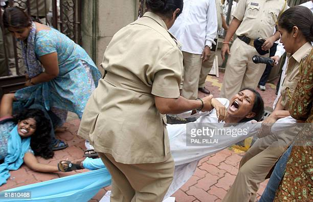 Indian police arrest undergraduate students protesting against the admission policies and job reservation in front of the State Secretariat in Mumbai...